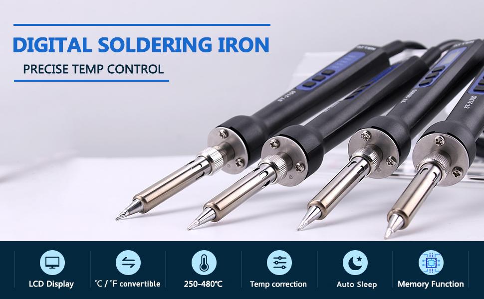 BYFRI 220v 80w Digitale Saldatore con 5 Punte di Saldatura del Ferro Saldatoio del Basamento Soldeirng Ferro Saldatura