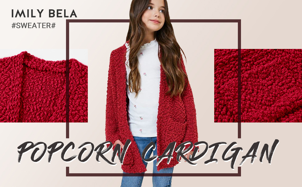 Imily Bela Girls Cardigan Open Front Popcorn Knit Long Sleeve Sweaters Coat with Pockets