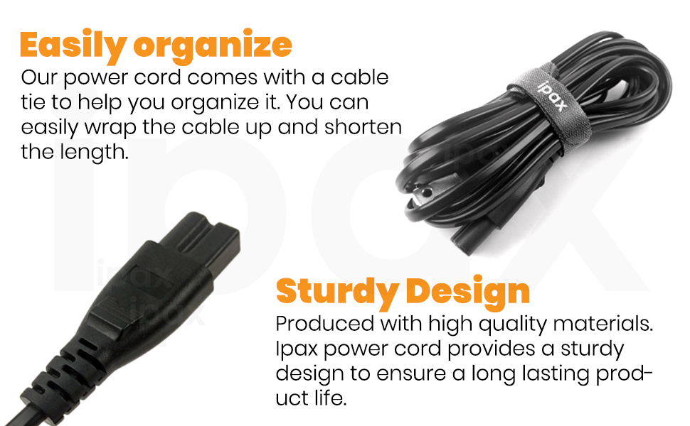 15Ft 2-Prong Polarized Power Cord Cable for Arris Router Modem; Vizio Sharp TV
