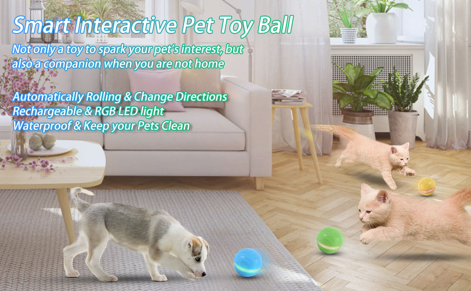 ritastar Wicked Toy Ball for Cats and Dogs with Flashing RGB LED Light,USB Rechargeable,360° Auto Rolling,Waterproof Durable Rubber Fetch Chasing ...