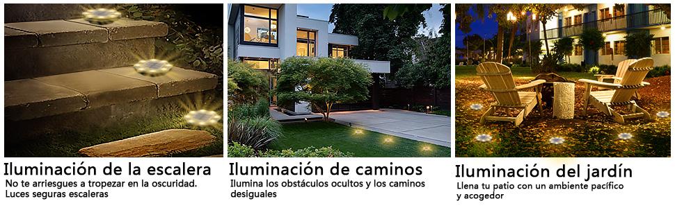 Luces Solares LED Exterior Jardin, JESLED Luces Solar de Tierra Luz para suelo Lámparas solares
