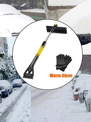 Auto Window Windshield Snow Brush Car Truck SUV Winter Snow Removal EDOU Extendable Snow Brush and Ice Scraper with Foam Grip Glove