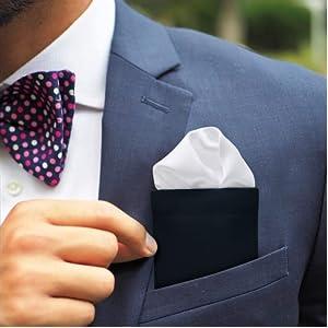Pocket Square Holder with Plain Classic White Color Pocket Square