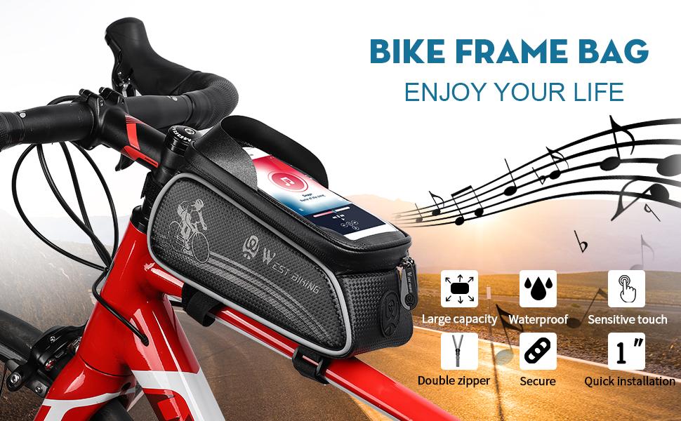 "headphone hole 6.5"" Mobile Phone Large Capacity Bike Bag Light Blocking Protector Velcro Sun Visor"