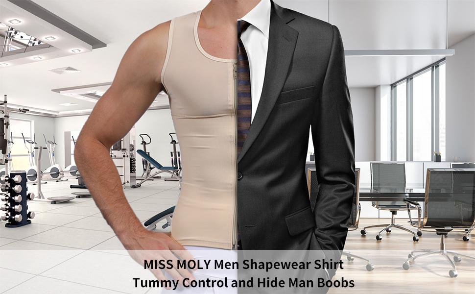 Compression Shirts for Men Power Net Body Shaper Undershirt Abs Tank Tops Abdomen Shapewear Vest