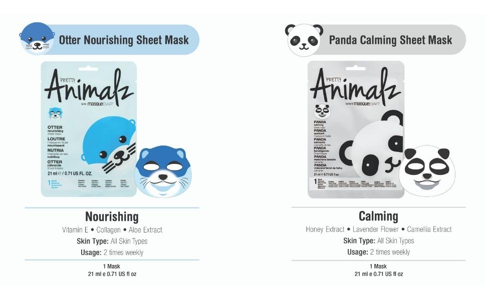 otter, panda, face mask for kids, girls, women, skin care, self care, print mask