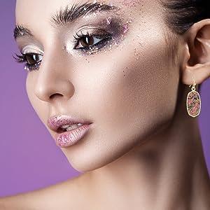 dainty gold earrings pink statement jewelry everyday simple dainty delicate druzy stone rhinestone