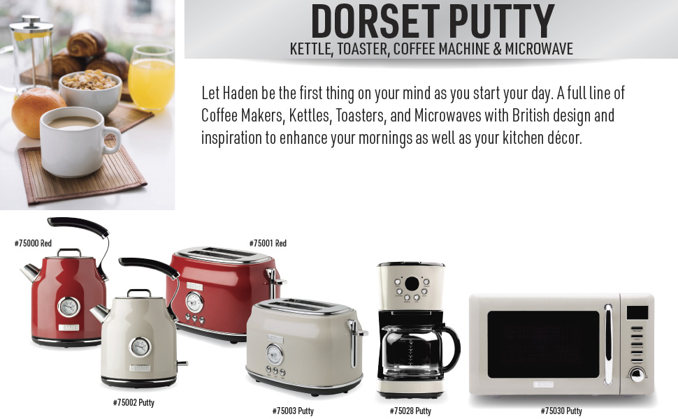 dorset putty, dorset 75002, dorset 75003, putty electric kettle, putty toaster, retro kettle
