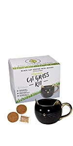 Bengal Black cat grass mug growing kit perfect plants wheat grass small animals pets vitamins