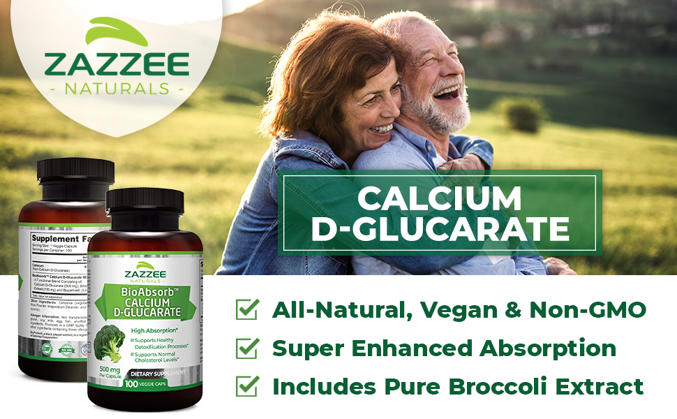 Zazzee Naturals Calcium D-Glucarate, All-Natural, Vegan, 100 Capsules, BioPerine, Broccoli Extract.