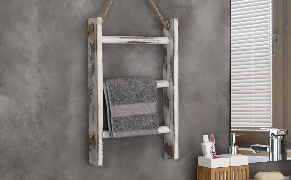 3-Tier Whitewashed Wood Wall-Hanging Towel Storage Ladder with Rope