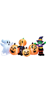 8 ft Long Three Halloween Characters and Pumpkin Patch
