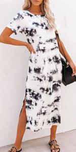 Tie Dye Casual Long Dresses