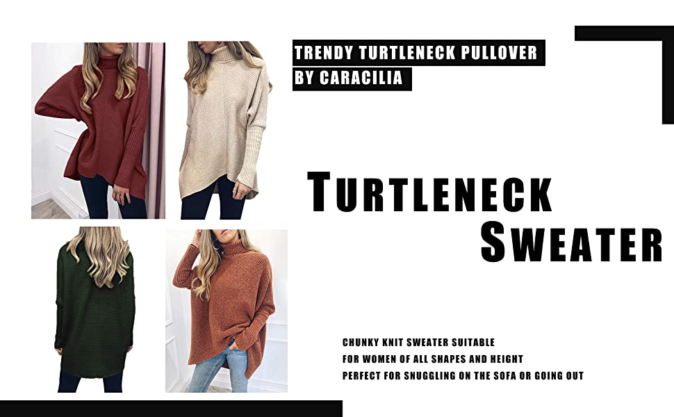 Caracilia Womens Turtleneck Long Sleeve Sweater Asymmetric Hem Casual Pullover Knit Tops