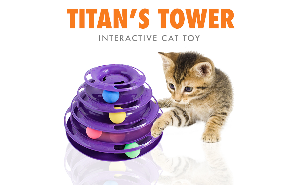 titan, cat, tower, ball, toy, interactive, feline, active, lifestyle, exercise, game, purrfect