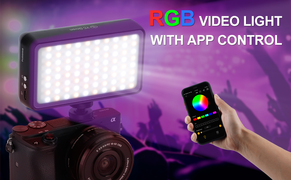 Cinematography,Videography CRI,CCT Temparature from 2500 or8400K,Free Movement Fill Light,LED Video Light for Photography YC Onion Pudding RGB Full Color LED Camera Video Light UltraColor 96