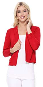 YEMAK Women's Cropped Bolero 3/4 Sleeve Classic Open Front Cardigan Jacket