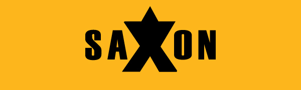 Saxon logotype. The X is larger and its top is filled making it look like part of a star