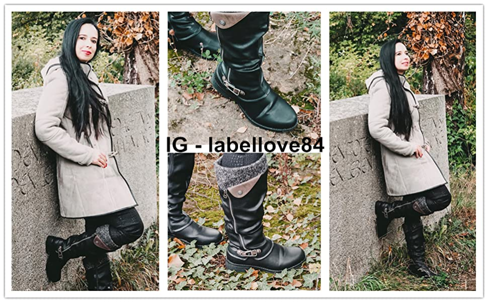 now Boots for Womens Winter Fur Lined Warm Mid-Calf Boots Waterproof Leather Knee Boots