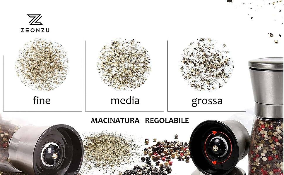 Mecanismo Molienda Especias en Cer/ámica Molienda Pimienta Molida Sal Premium Macinino Spezie