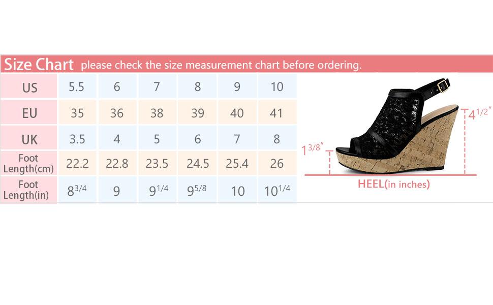 Allegra K Women's Open Toe Platform Heel Lace Wedges Sandals