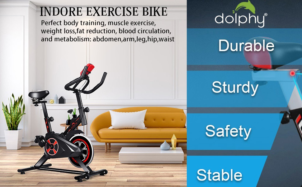 Exercise fitness Indoor Cycling , Smooth & Quiet Stationary Bike , for Home Gym Fully Adjustable