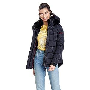 XS-XXL vegan hergestellt Marikoo Damen Winter Jacke Steppjacke Lotusbl/üte