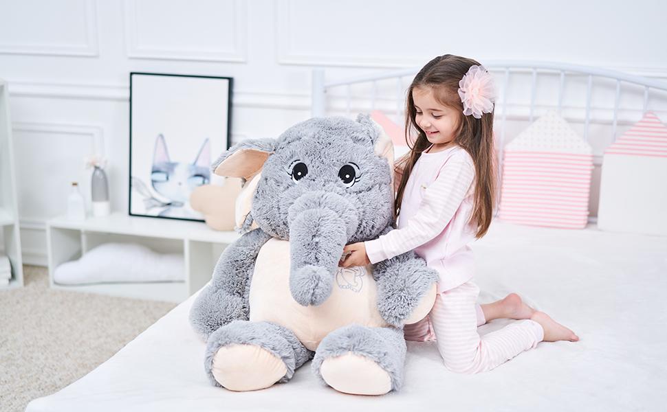 IKASA 100cm Elefante Juguete de Peluche Encantador Elefante ...