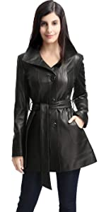 BGSD Women's Madison Lambskin Leather Coat