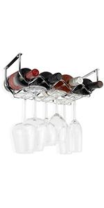 Wallniture Piccola Under Cabinet Wine Rack & Glasses Holder 4 Bottle Organizer Metal Chrome
