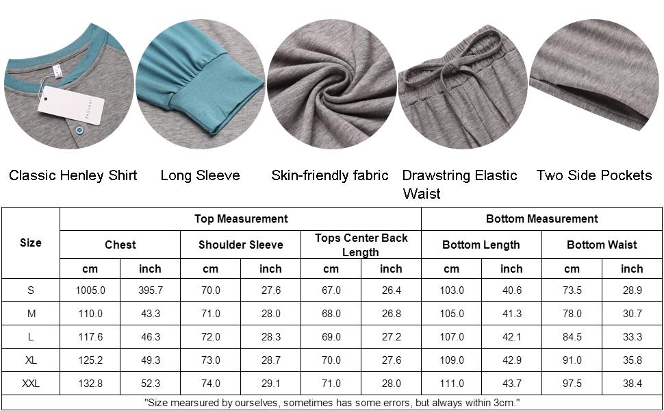 Ekouaer sleepwear for men long sleeve long pajama set