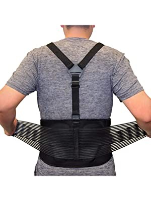 A man adjusting the AllyFlex Adjustable Back Brace with suspenders and Lumbar Support