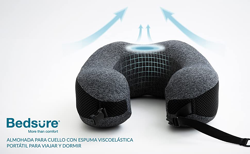Bedsure Almohada de Viaje Viscoelástica Portátil - Cojín Cervical Viaje Avión con Espuma de Memoria - Almohada Cuello Ortopédica Gris,23x25cm