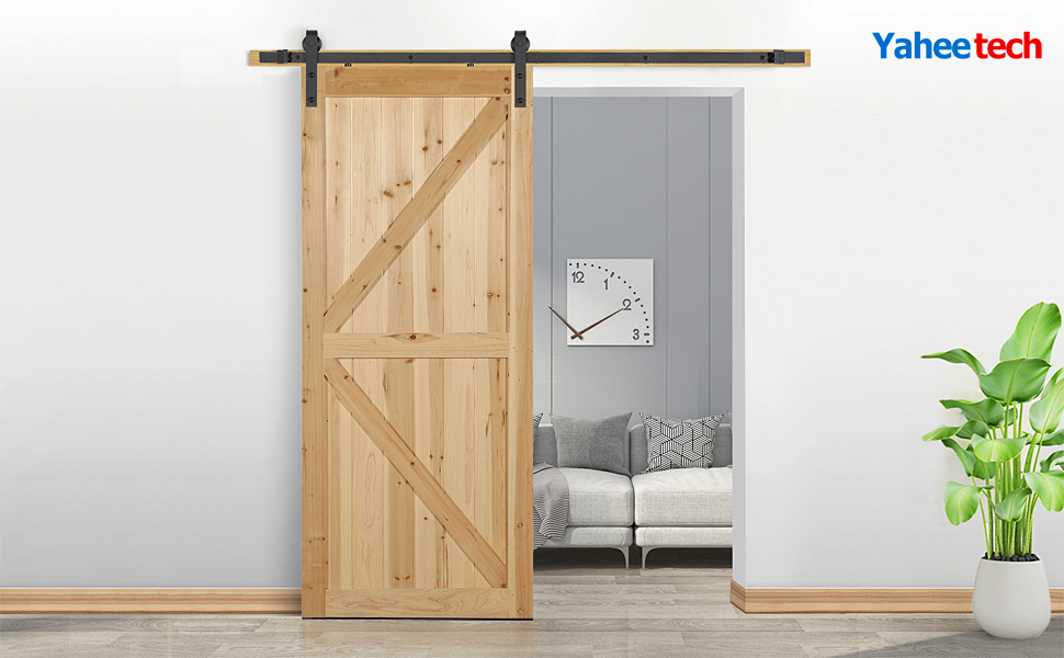 Smoothly and Quietly Yaheetech 6.6ft Barn Door Hardware Sliding Farm Closet Door Track Hardware Kit Renewed Fit 1 3//8-1 3//4in Thickness Door Panel Black