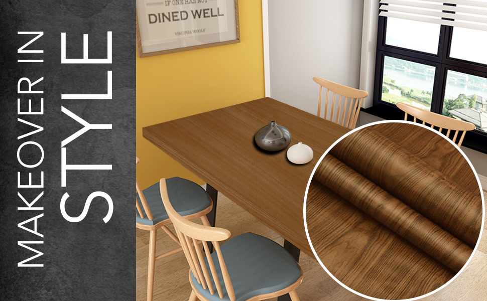Wall Stickers Wood Wallpaper DIY PVC Shelf Liner, Furniture, Almirah, Table Top, Wardrobe, Cupboard