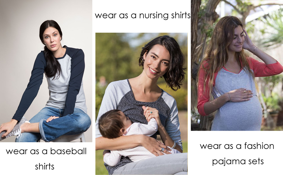 Maternity Shirts Pajamas Top Nursing Gown Pj Pregnant Hospital Nightgowns for Women