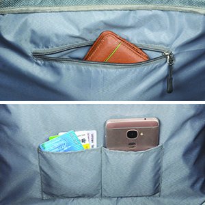 valuables in the internal pocket of the Duffel luggage bag to ensure safety while travelling