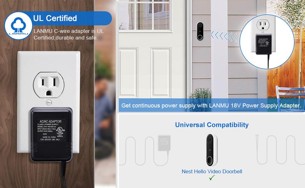 Amazon Com Power Adapter For Nest Doorbell Lanmu Power