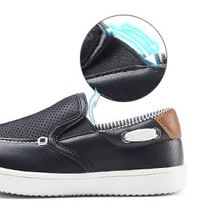 These casual little boys shoes are flexible and comfortable to wear with the elastic topline.