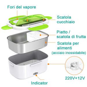 ERAY Lunch Box Elettrico 2 in 1 per Auto e Lavoro riscaldatore da 1,5 Litri 220V e 12V 40W Colore Verde Materiale per Alimenti e Acciaio Inossidabile Rimovibile