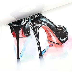Women/'s Fashion Wall Art High Heel Jazz Dancing Shoes Patent Canvas High Heel Poster Fashion Wall Decor