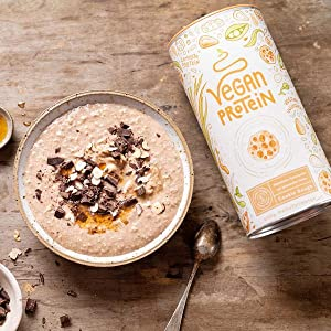 Proteina Vegana | COOKIE DOUGH | Proteína vegetal de soja, arroz, guisantes, amaranto, semillas de lino, de girasol y de calabaza germinadas | 600 g ...