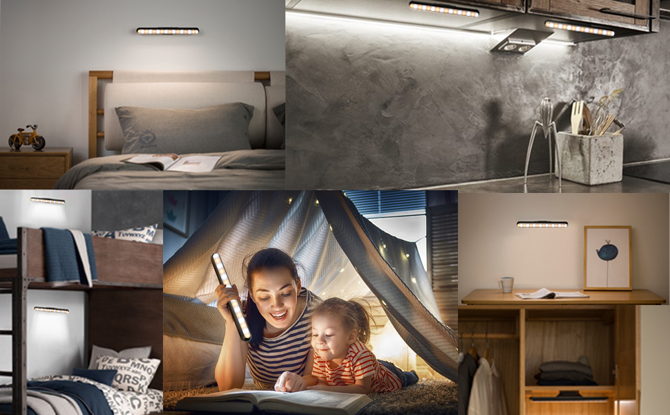 Wall Mounted Stick On Reading Light For Kids Top Bunk Bed Bottom Headboard Lamp Loft Led Rechargeable Bar Lights Battery Powered Dimmable Touch Wireless Magnetic Under Cabinet Lighting Night Bedroom