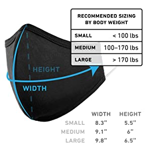 Washable Cloth Face Mask USA Made Black Fabric Sizing Dimensions