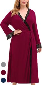 Noble bathrobe lady natural temperament red wine blue grey Navy