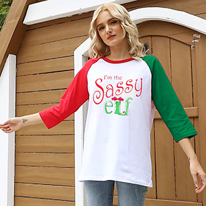 Women christmas 3/4 sleeve t-shirt novelty graphics with saying funny and cute tee tops