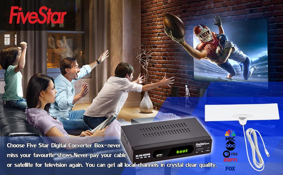 Five Star ATSC HD Digital TV Converter Box w/ 1080p HDMI Output, 40 Miles Over The Air(OTA) Flat