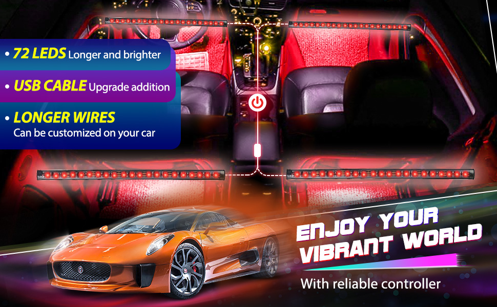 72 leds longer and brighter; usb cable upgrade addtion; longer wires can be customized on your car