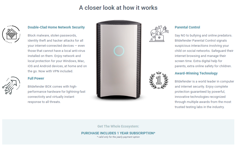 Bitdefender BOX 2 (Latest Version) - Complete Home Network Protection for  Your WiFi, Computers, Mobile/Smart Devices and More, Including Alexa and