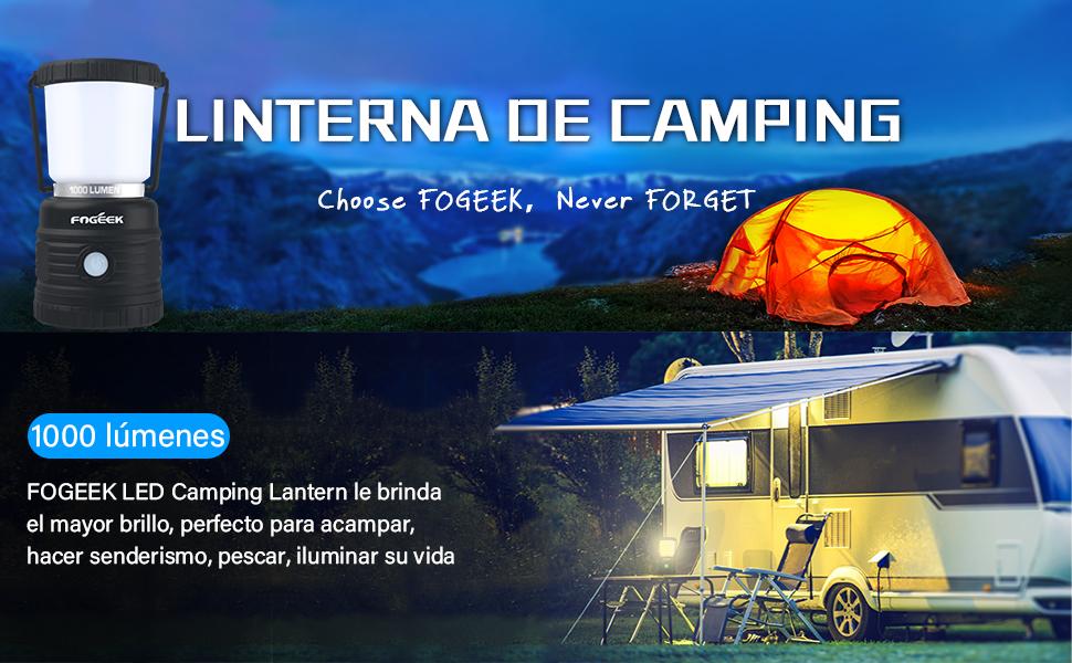 FOGEEK Linterna LED para Acampar, Luz cálida, Luz Nocturna, Luz de Emergencia, Resistente al Agua, Mango portátil, Modos de iluminación múltiple, Luz ...